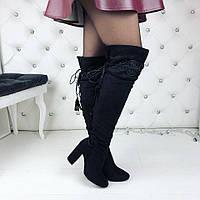 Женские демисезонные замшевые ботфорты чёрные с переплётом на каблуках