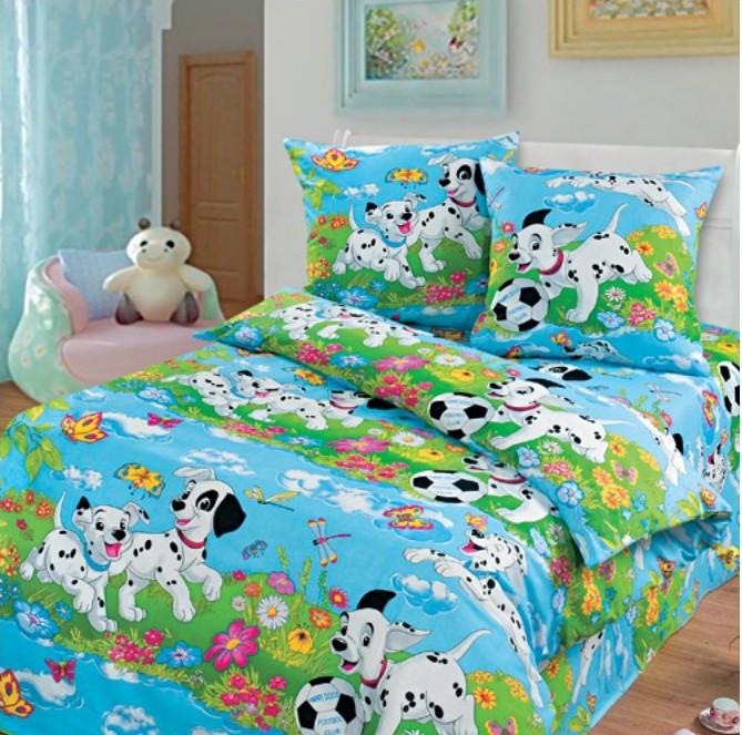 """Детский комплект постельного белья в кроватку из бязи Голд """"Далматинцы"""""""