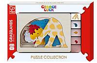 """Пазл-вкладыш George Luck """"Звери на лужайке"""" Hape (E6516)"""