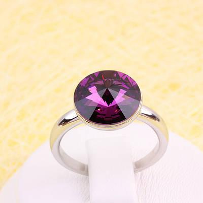 011-0034 - Кольцо с кристаллом Swarovski Rivoli Crystal Amethyst родий, 18, 19 р.