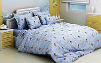 """Детский комплект постельного белья в кроватку из бязи Голд """"Винни Пух"""" голубой"""