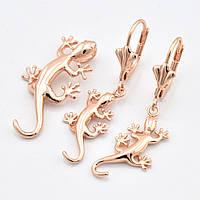 Набор Золотой геккон, притягивает богатство 56211, кулон размер 15*12 мм + серьги размер 38*12 мм, позолота РО