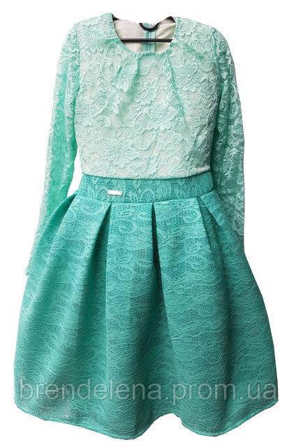 Платье Мята-гипюр подросток р.146-164