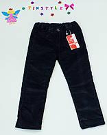 Темно-синие утепленные вельветовые брючки  для девочки, фото 1