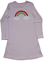 Ночнушка с длинным рукавом для девочки, розовая с радугой, рост 146 см, 152 см, 158 см, Фламинго
