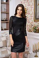 Облегающее черное платье со вставками из экокожи