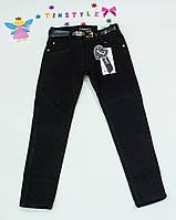 Черные утепленные  джинсы  для девочки рост 134-170, фото 1
