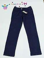 Синие  утепленные  брюки на флисе на девочку 152