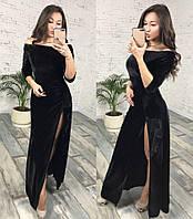 Женское нарядное платье бархатное длинное в пол с м 42 44 опт розница