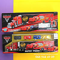 Трейлер Тачки Маквин, инерционный 35см и машинка 4шт, 5см, в коробке 40-13,5-5 см