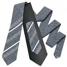 Вышитый галстук для мужчин серого цвета №756