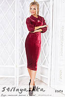 Офисное бархатное платье бордо