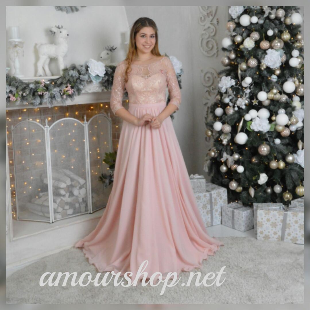 Длинное свадебное вечернее платье цвета пудры. 17-806