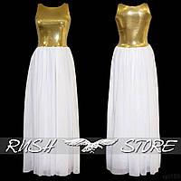 Вечернее платье в пол из шифона и пайеток