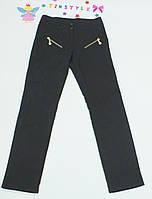 Черные  утепленные  брюки на флисе на девочку 152