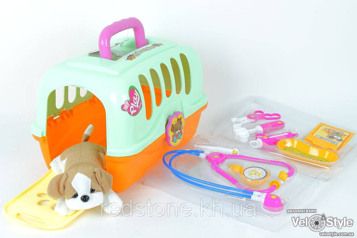 Игровой набор доктор 152 собачка в чемодане - переноске аксессуары