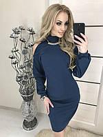 Нарядное платье с открытыми плечами , синее, фото 1