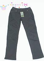 Черные  утепленные  брюки на флисе на девочку 140