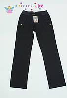 Черные  утепленные  брюки на флисе на девочку 146