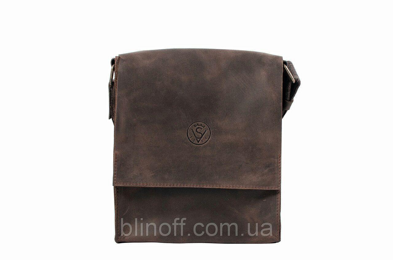 Мужская сумка планшетка мессенджер через плечо из натуральной кожи коричневая