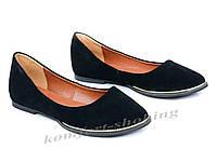 Балетки  женские замшевые, черные  V 917