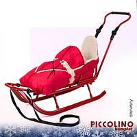 Санки Adbor Piccolino с регулируемой ручкой и конвертом (красный)