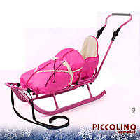 Санки Adbor Piccolino с регулируемой ручкой и конвертом (розовый)