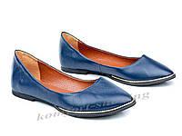 Балетки  женские из натуральной синей кожи  V 917