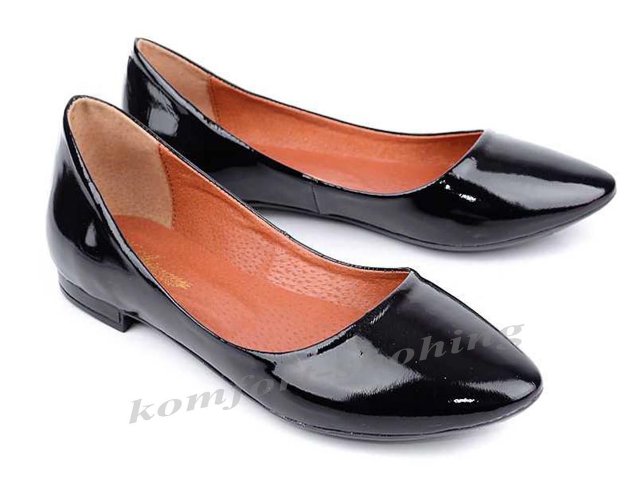 Балетки  женские лаковые, черные  V 917