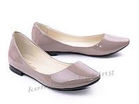 Балетки  женские лаковые, цвета капучино  V 917
