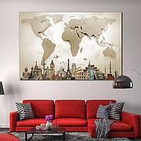 Арт Постер Фото Картина 3D Карта Мира Декор стен для дома, офиса и спален.