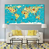 Детская карта мира с изображениями животных