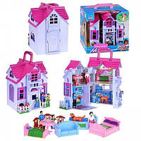Домик для кукол F611 раскладной с фигурками, куколками, мебелью, мебелью