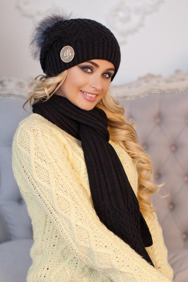 Комплект «Синди» (шапка + шарф) 4501-10 черный