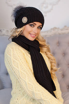 Комплект «Синди» (шапка + шарф) 4501-10 черный, фото 2