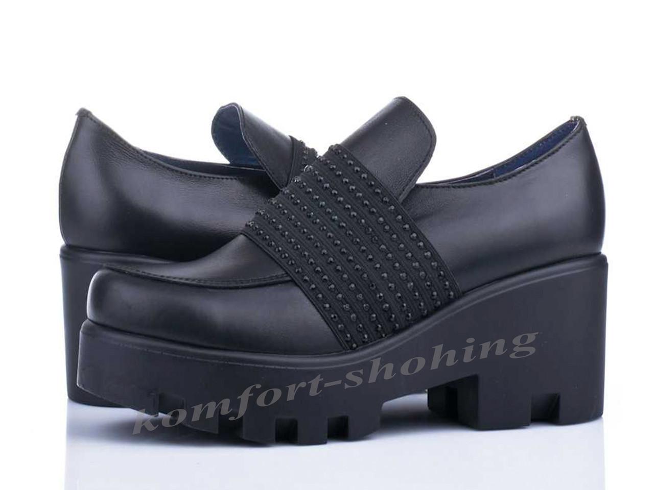 Туфли  женские кожаные черные V 989