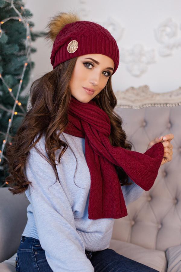 Комплект «Синди» (шапка + шарф) 4501-10 бордовый