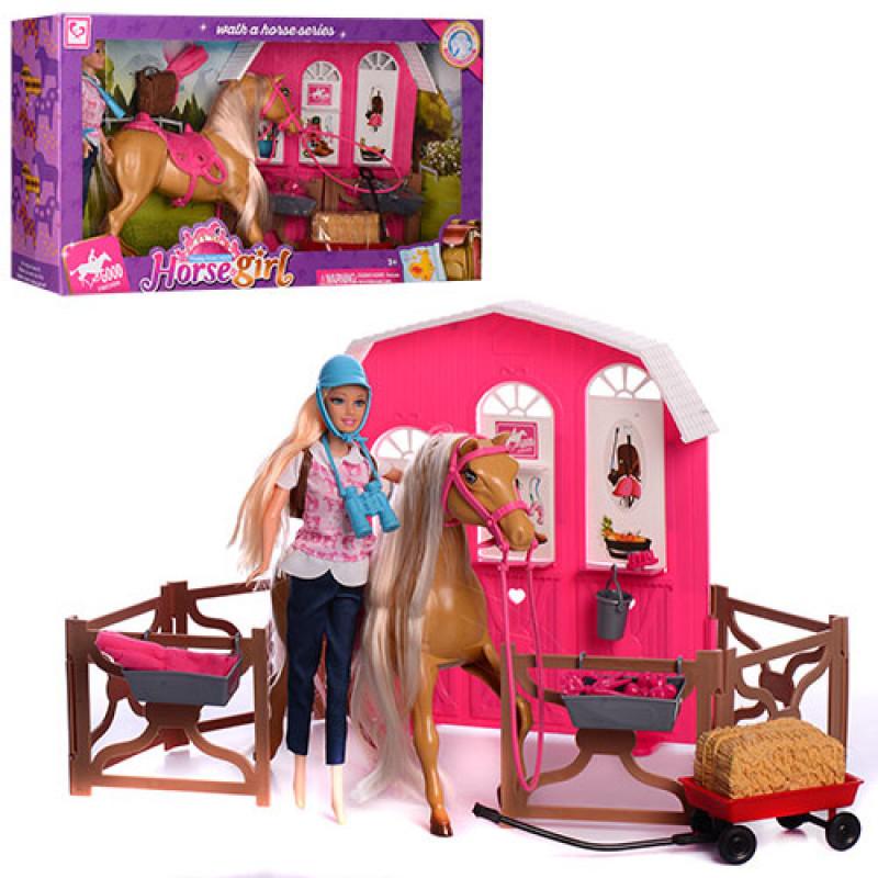 Кукла K899-53 29 см, лошадь 25 см, конюшня