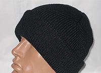 Вязаная черная шапка с отворотом р58-60