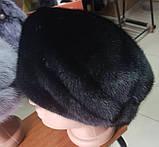 Женская  норковая шапка модель стюардесса украшение 2 полоски, фото 4