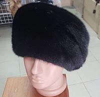 Женская  норковая шапка модель стюардесса украшение 2 полоски
