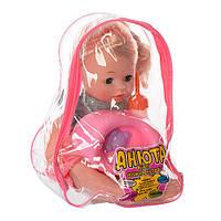 Кукла  Анюта в красивеньком платьице, в комплекте идут: горшочек, подгузник, бутылочка и соска, фото 1