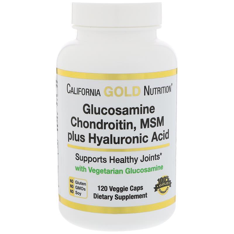 Глюкозамин, хондроитин, МСМ + гиалуроновая кислота, California Gold 120 капсул