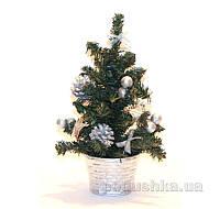 Настольная елка с игрушками Девилон 25 см 470310 серебро