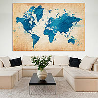 Синяя карта мира с винтажным фоном