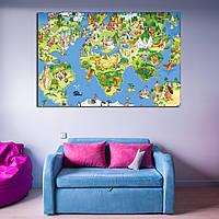 Детская карта мира с изображениями