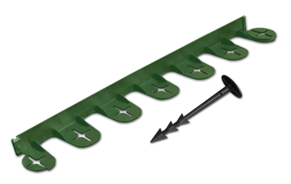 Бордюр газонный PALISGARDEN 3м, набор-5 элементов/60 см*38мм+12 колышков GeoPEG, зеленый, OBP1201-003GR