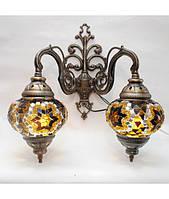 Бра восточная турецкая из мозаики 2 плафона
