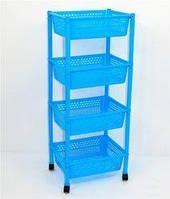 Этажерка для игрушек 4 яруса Голубая