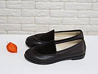 Туфли женские на тонкой подошве из натуральной кожи и замши шоколадного цвета. Туфли Т-17060